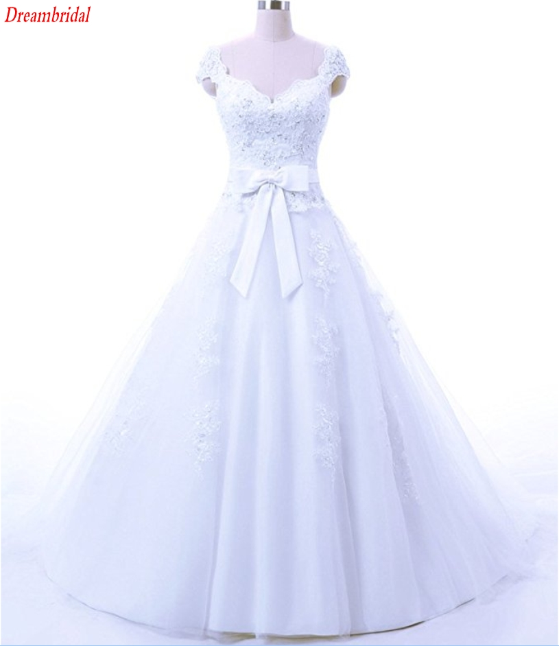 Dreambridal The latest in-kind pictures Elegant Applique seam bead Cap Sleeve Ball Gown Wedding Bridal Dress