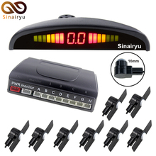 MJDXL Automotive LED Show Parking Sensor Equipment 8PCS 16MM Flat Sensors Reverse Backup Radar System Detector 6 Colours for Choice