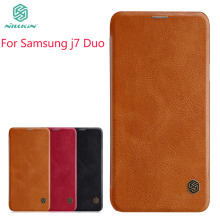 For Samsung Galaxy j7 Duo Case NILLKIN pu Leather Flip Case For Samsung Galaxy j7 Duo Luxury Flip Cover For Samsung j7 Duo nillkin pu pc flip open case w display window for samsung galaxy mega 2 black