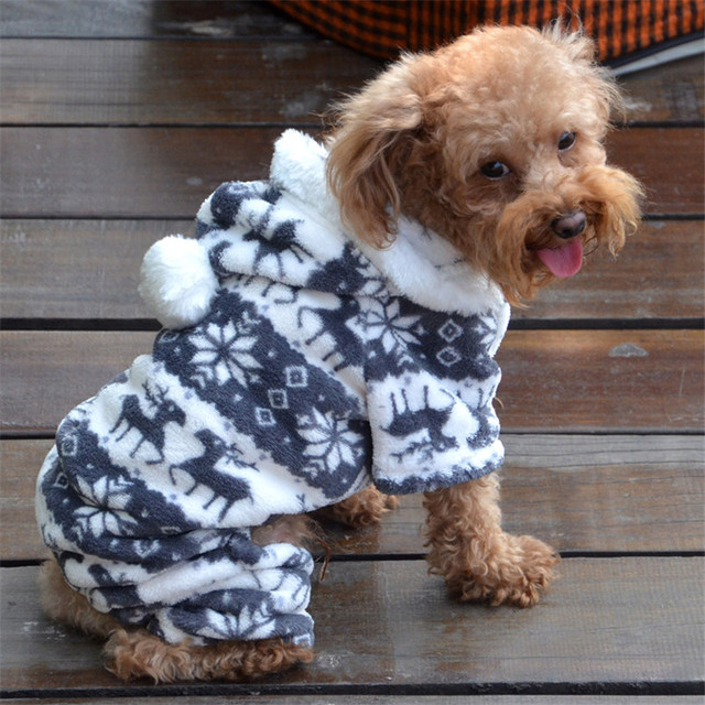 Newly Design Winter Boy Dog Coat Sweatshirts Gray Blue Cotton Blend Warm Pets Dogs Hoodies Clothes Small Puppy Apparel