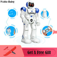 Febio Baby Robot USB Charging Dancing Gesture Action Figure Toy Robot Control RC Robot Toy for Boys Children Birthday Gift