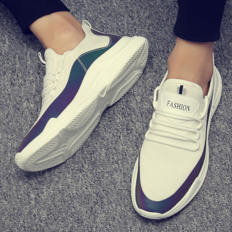Net cloth sneaker male 2019 spring new style breathable male shoe han edition tide plank shoe