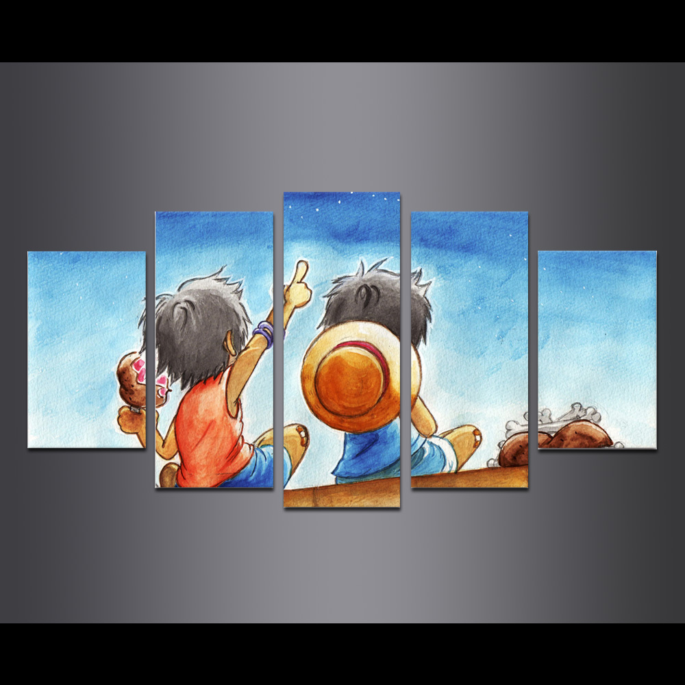Unframed Canvas painting Animation One Piece Luffy Giclee Modular Picture Prints Pictures For Living Room Wall Art Decoration
