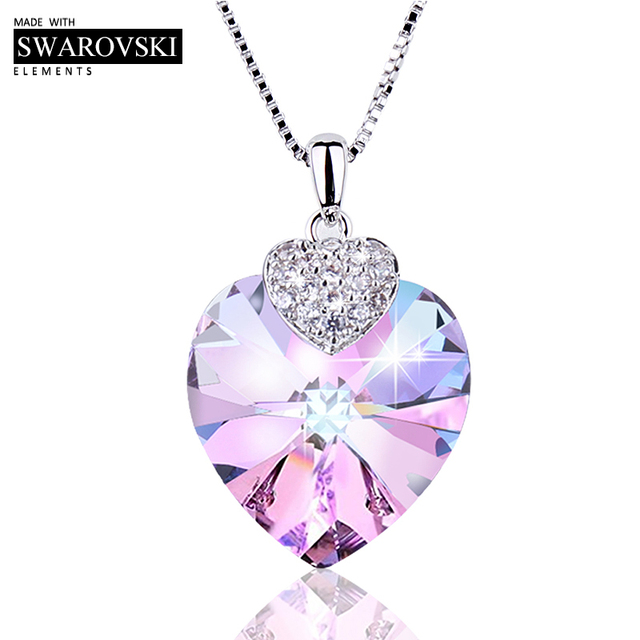 Collar de Swarovski para mujer forma de corazón amatista cristal colgante collar joyería fina gargantilla collar regalo para dama