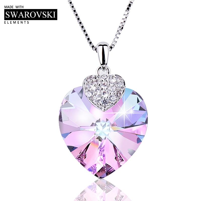 Swarovski Halskette für Frauen Herz Form Amethyst Kristall Anhänger Halskette Edlen Schmuck Halsband Halskette Geschenk für Dame Collares