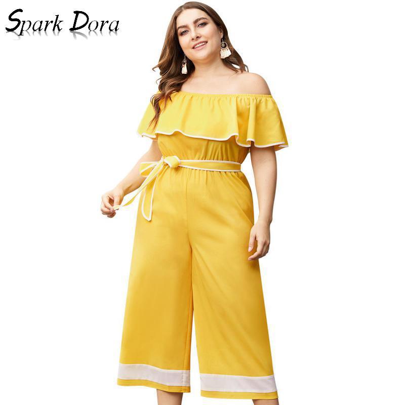 Vêtements femmes SparkDora 2019 barboteuses combinaison femme grande taille combinaisons caractère épaule pantalon à jambes larges