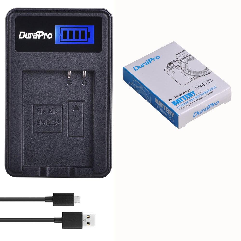 DuraPro EN-EL23 EN EL23 1850 mAh 3.8 V batterie Li-ion Rechargeable + chargeur USB LCD pour appareil photo Nikon COOLPIX P600 S810c P900 P610