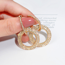 Exaggerated circle long earrings gold silver crystal round female temperament wild simple Korean personality