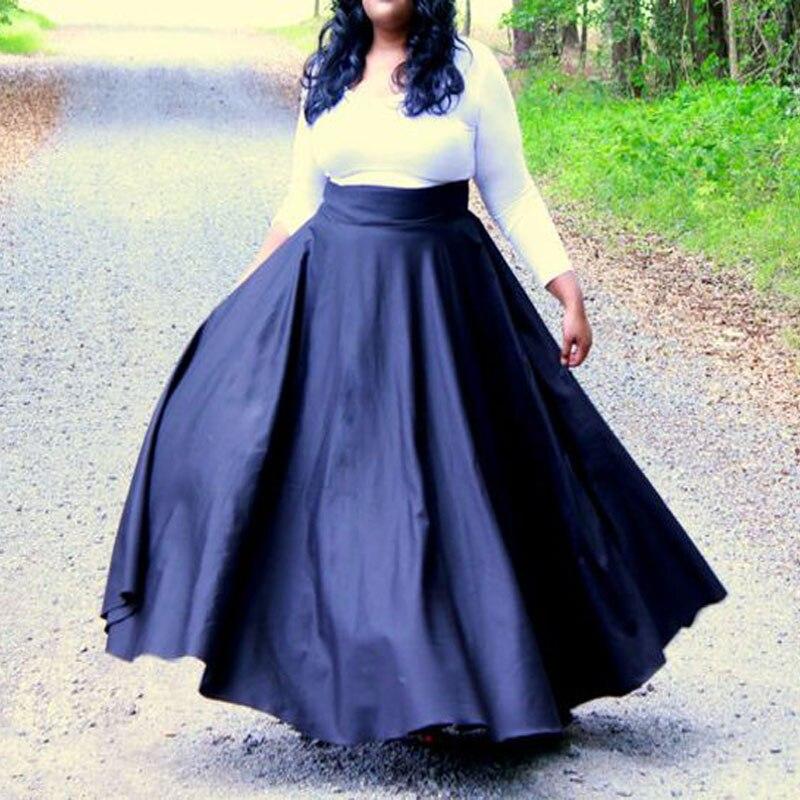 Fashion Black Women Satin Skirt High Ribbon Waist Autum Plus Size for Overweight Beautiful Lady Formal Vestidos Saia Maxi Skirts