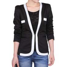 women elegant temperament spell color Blazer long sleeve Slim Small office casual tops outwear Coat