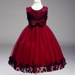 Crianças infantil menina flor pétalas vestido crianças dama de honra criança elegante vestido infantil formal festa vestido vinho vermelho