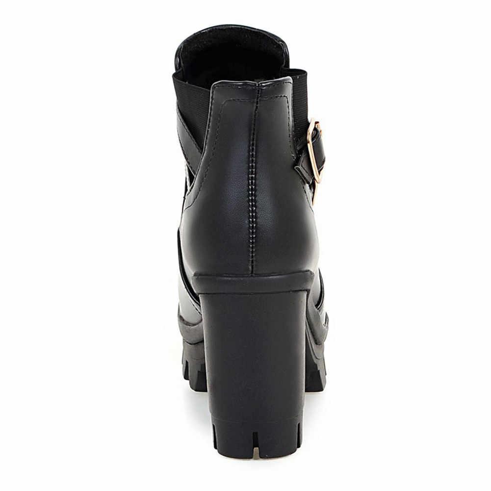 2019 dropship en venta talla grande 33-43 añadir botas de invierno de piel zapatos de mujer zapatos de plataforma tacones cuadrados de tacón alto botas de tobillo zapatos de mujer