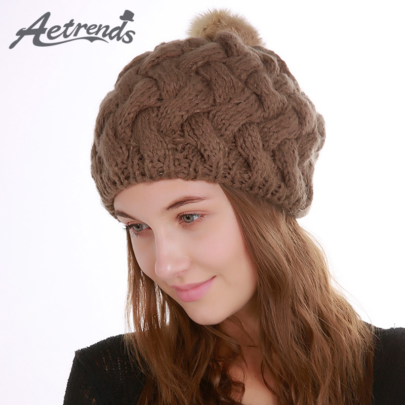 [AETRENDS] 2017 Winter Beanie Hats for Women Warm Knitted Female Caps Beanies Pompom with Top Ball Z-5997 2016 new beautiful colorful ball warm winter beanies women caps casual sweet knitted hats for women outdoor travel free shipping