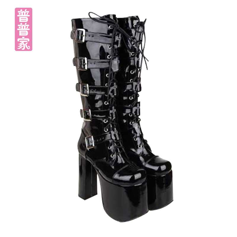 Princess sweet punk shoes Autumn and spring round head super high heel fashion cool queen's punk high boots women pu7008 princess sweet punk shoes japanese summer and spring round head boots cos anime punk super high heel frill muffin boots pu9712