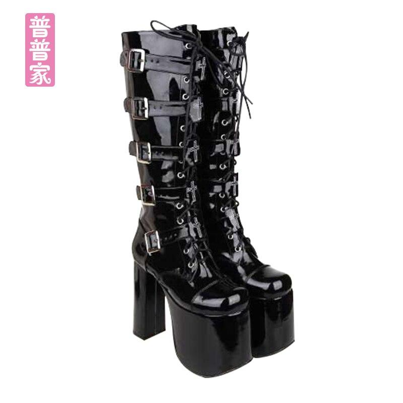 Automne 5cm Cool Princesse 12 Punk Chaussures Reine Bottes Printemps Mode Haute Talon Ronde Femmes Pu7008 Et Tête Super Doux 15cm De qqRtO1prHS