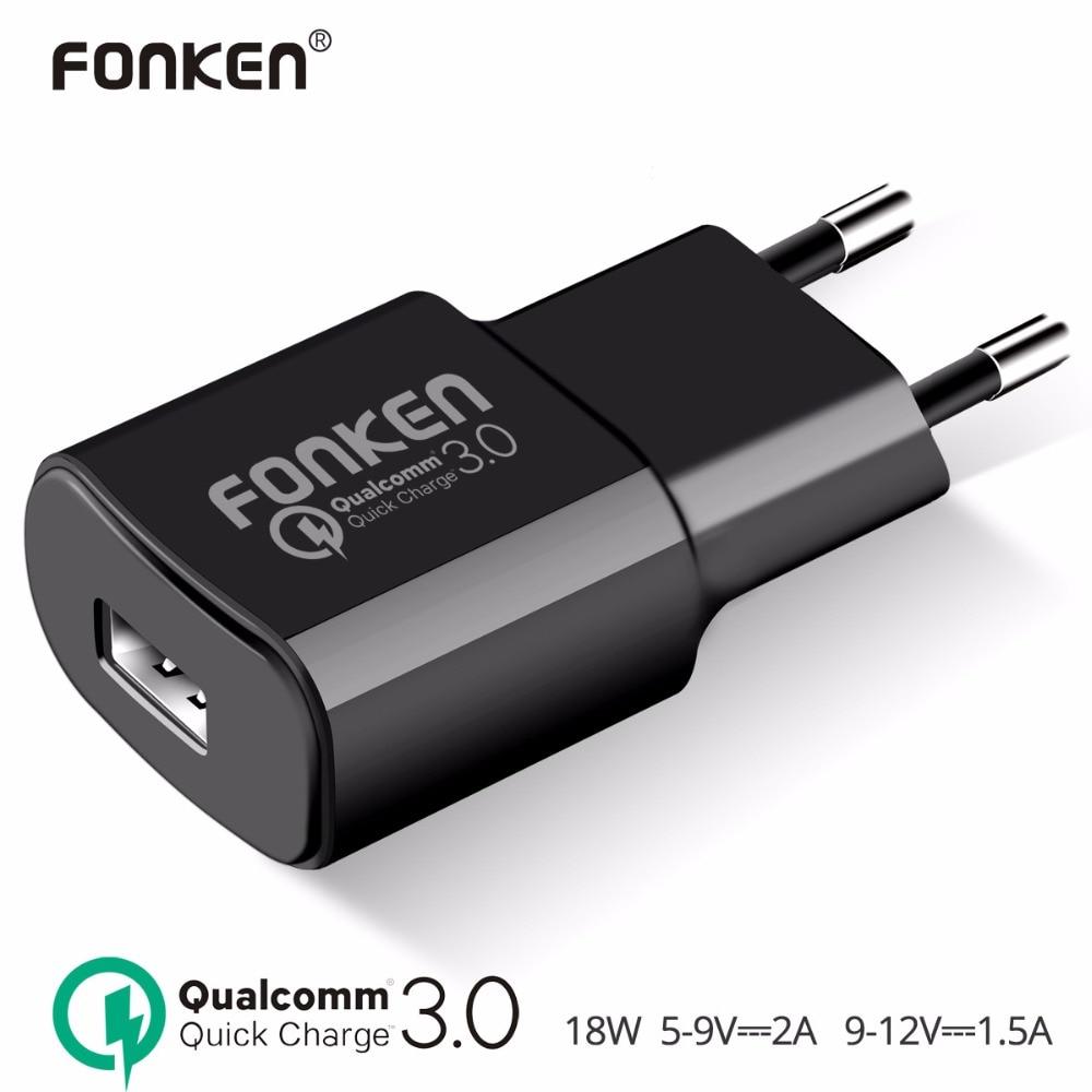 FONKEN USB Carregador de Carga Rápida 3.0 Carregador Rápido QC3.0 QC2.0 USB Adaptador 18 W Carregador de Parede Portátil para o Telefone Móvel carregadores