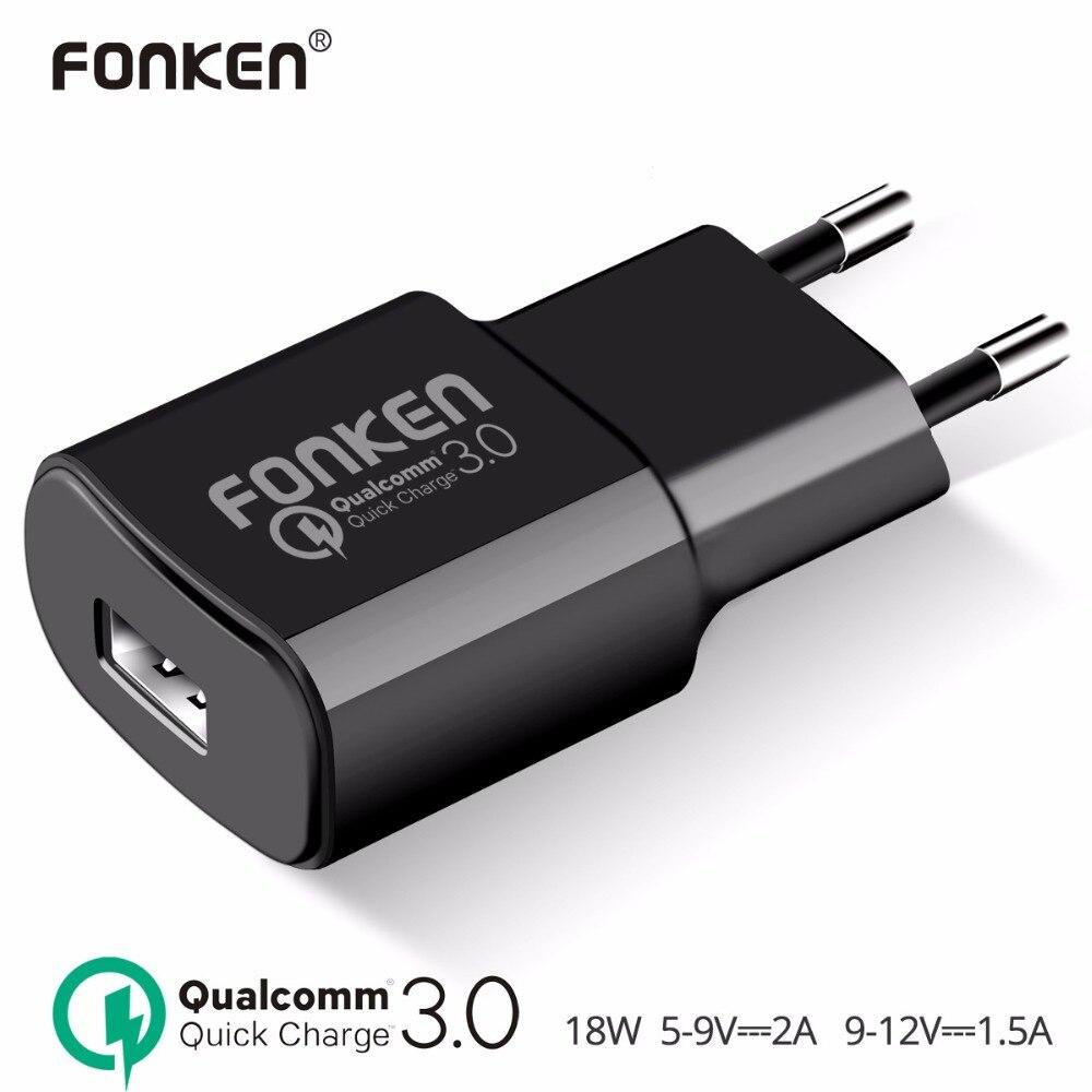 FONKEN USB Chargeur Charge Rapide 3.0 Rapide Chargeur QC3.0 QC2.0 18 W Portable Mur USB Adaptateur De Charge pour Téléphone chargeurs