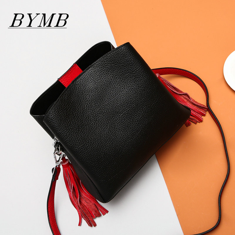 2017 HOT High-quality brand baotou layer of cow leather bags The new ms tassel handbag is a 100% leather handbag the new high quality imported green cowboy training cow matador thrilling backdrop of competitive entrance papeles