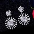 MIGGA Moda Brinco Vintage Romântico Aaa Grau Zirconia Cristal Sun Flower Dangle Brincos para Mulheres Platinadas Brincos