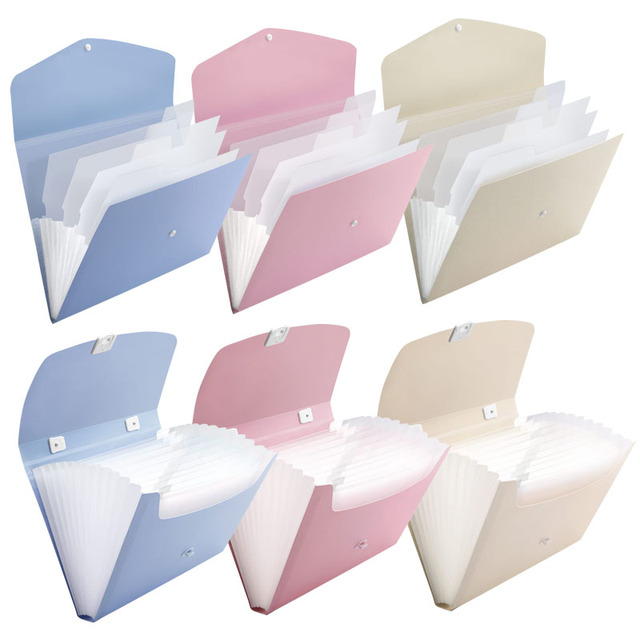 Candy Color A6 Document Bag Waterproof Presentation Folder Bag Paper Bill Clip Storage Organ Bag Expanding Wallet Folders