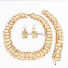 High Quality 24KGP Fashion Choker Necklace Jewelry Gold Jewelry Set With Crystals For Bride Necklace Earring Bracelet