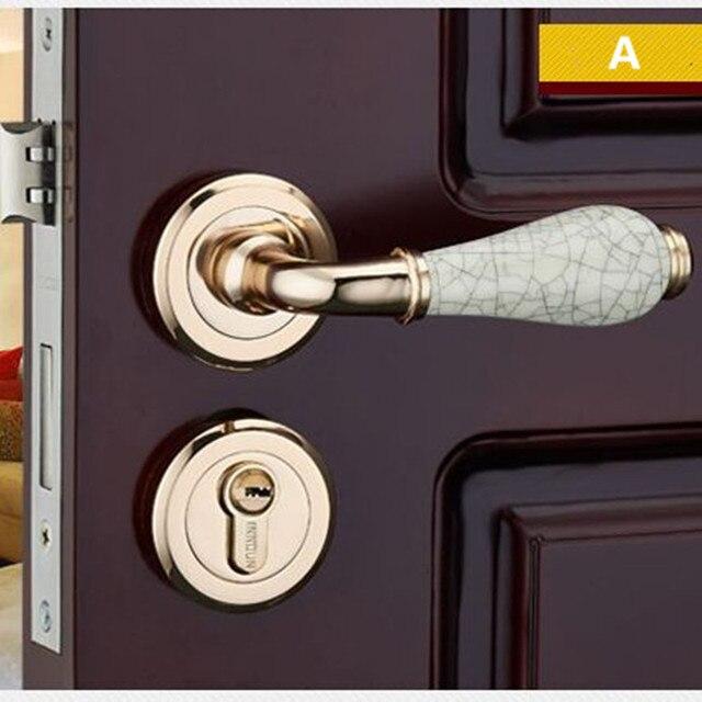 Moden Busana Perpecahan Mekanik Emas Kamar Mandi Kamar Tidur Dapur Kayu Solid Pintu Interior Kunci Pintu Keramik Menangani Kunci Interior Door Lock Door Lockhandle Lock Aliexpress