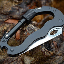 Outdoor Survival Kit, 5 in 1 Multifunction Climbing Carabiner Mountaineering Buckle With Screwdriver Folding Knife Can Opener