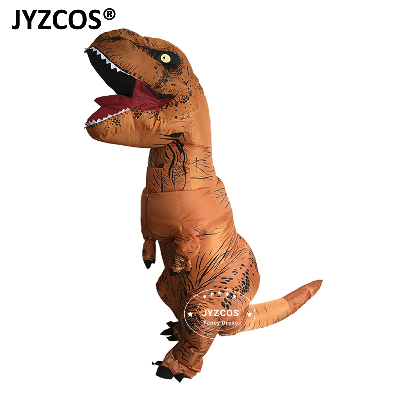 jyzcos inflatable t rex funcy dress dinosaur costume cosplay halloween t rex for women men jurassic park disfraces adults kids