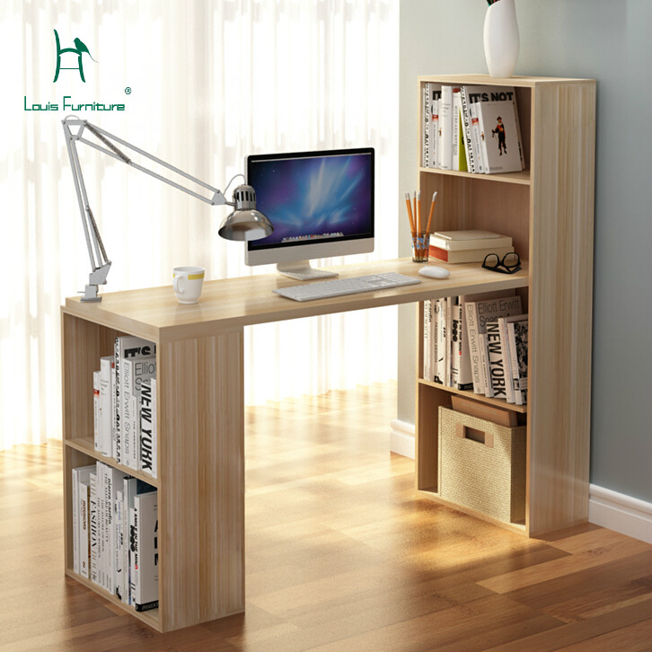Louis Fashion Computer Desk Environmental Desktop Corner Table Bookshelf Bookcase Office Modern Minimalist Healthy Large Storage