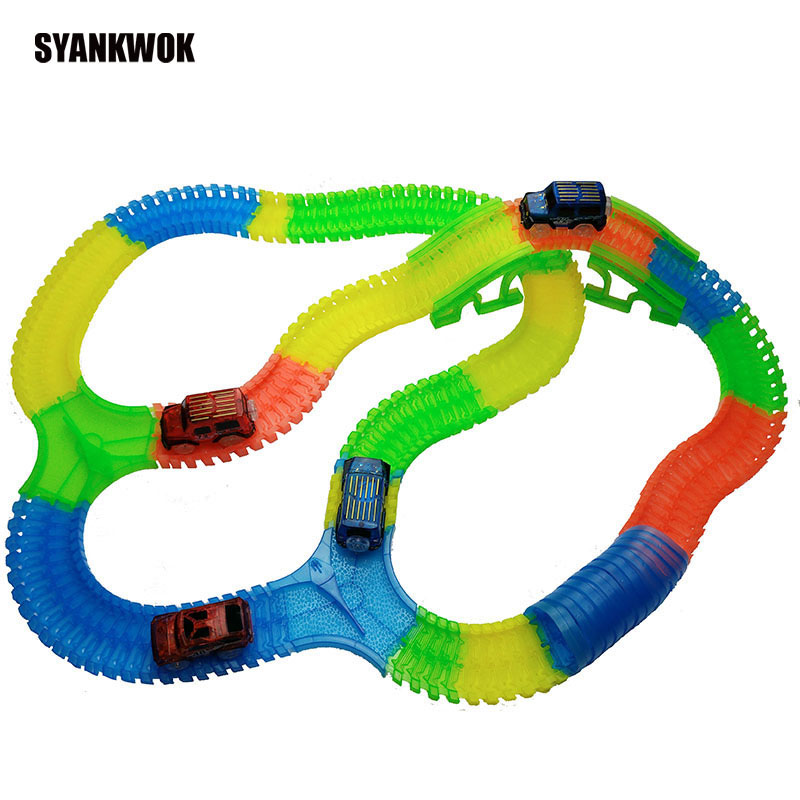 800 Track & 4pcs Car DIY Enlighten Miraculous Glowing Race Track Bend Flex Flash in the Dark Assembly Car Toy For Children Gift hot wheels 4 in 1 super track suit car toy new design multifunctional gift box hotwheels track car model dlf28 for christmax