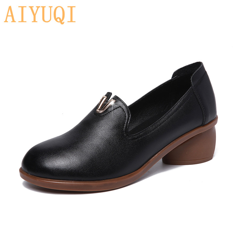 AIYUQI Women shoes mid heel 2019 spring new women dress genuine leather , British style fashion brand student