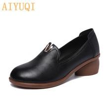 AIYUQI Women shoes mid heel 2019 spring new women dress genuine leather , British style fashion brand student
