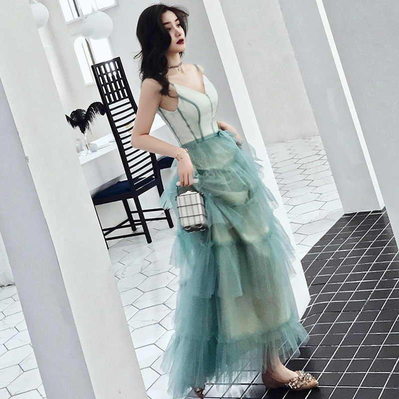 Prom Dress Sexy Sling V neck Vestidos De Gala Tiered Women Party Night Dresses 2019 Plus Size Sleeveless Elegant Prom Gowns E682 in Prom Dresses from Weddings Events