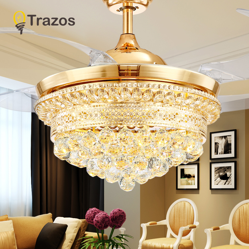TRAZOS 42 inch Gold Modern Crystal Ceiling Fans With Lights Living Room Folding Ceiling Light Fan Crystal Lamp Remote Control ...