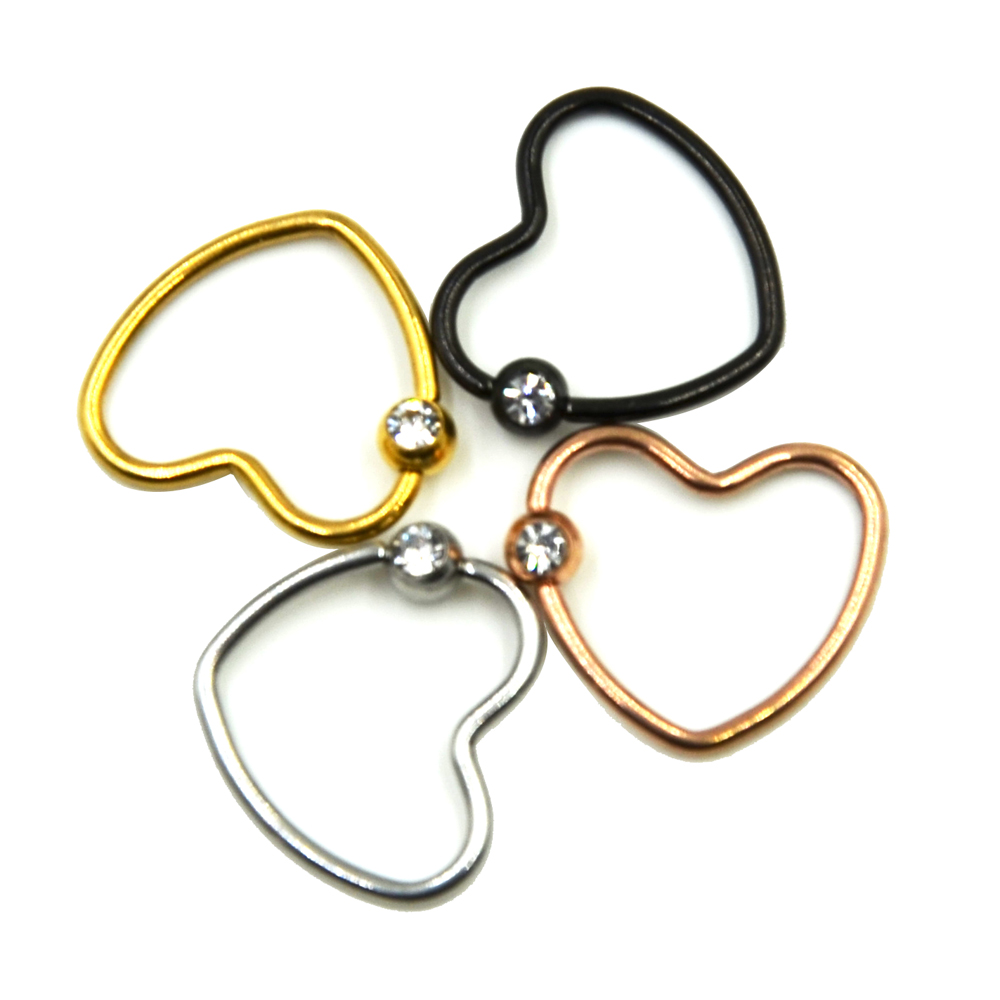 2Pcs Anodized Colorful CZ Crystal Daith Heart Captive Bead Ring Ear Helix Tragus Cartilage Lip Ring Piercing Nose Stud