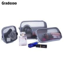 Gradosoo Clear Makeup Bag Women Travel Cosmetic Transparent Toiletry Sets Female Wash Kit Small Organizer Storage LBF591