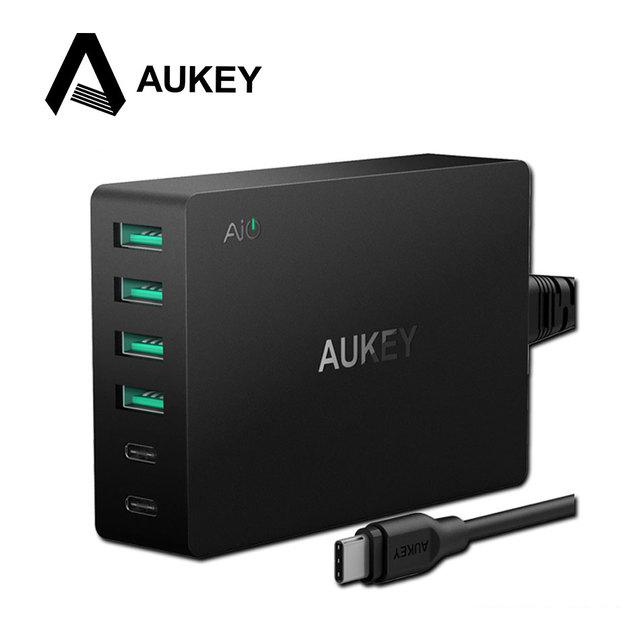 Aukey tipo-c 6-port usb carregador com carga rápida 3.0 & usb-c cabo de 60 W Rápida Viagem Carregador de Parede Tipo C de Saída para um Crescimento Inteligente telefones