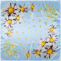 [Lesida] primavera bufanda cuadrada mujeres pequeñas flores de margarita impreso más nuevo diseño polyster bufanda chal dama de la moda de regalo 90*90 cm 9115
