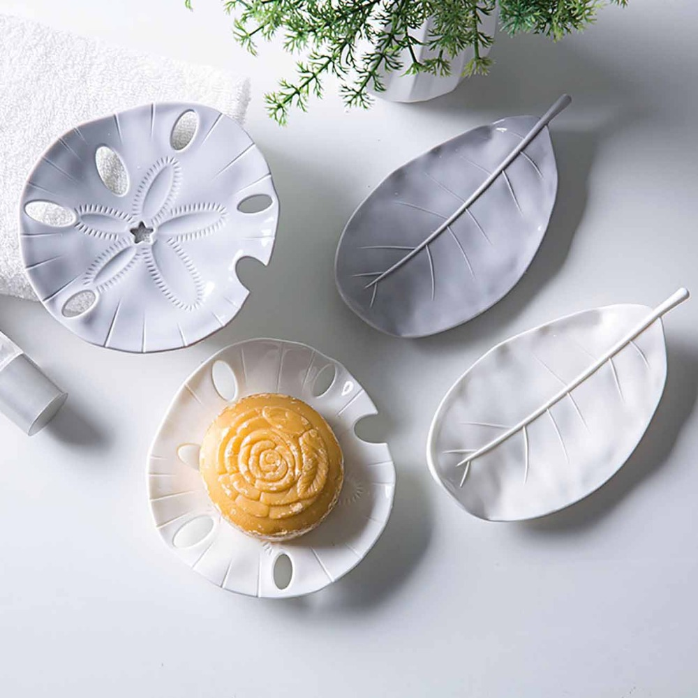 Creative Soap Dish Tray 4 Style Simple Design Leaf Shape Soap Box Drain Rack Soap Jewelry Holder Tray Bathroom Supplies