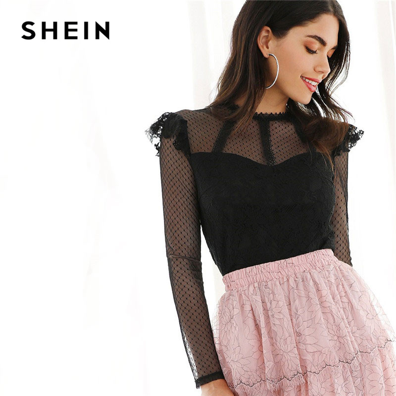 SHEIN Black Keyhole Back Dot Mesh Yoke Sweetheart Top Plain Blouse Women Spring Elegant Glamorous Stand Collar Blouses