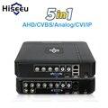 5 En 1 CCTV Mini DVR TVI CVI AHD CVBS IP de la cámara grabadora de vídeo Digital 4CH 8CH AHD DVR NVR sistema de CCTV P2P seguridad Hiseeu