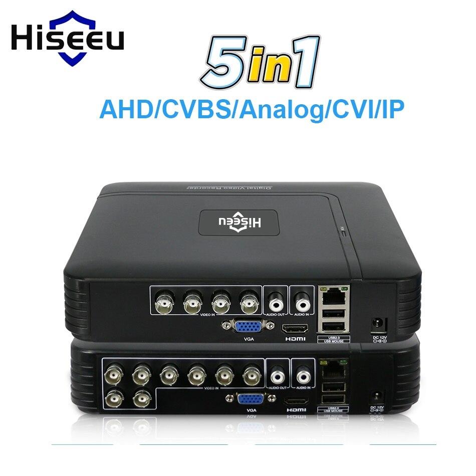 5 dans 1 CCTV Mini DVR CVI TVI AHD CVBS IP Caméra Numérique Vidéo Enregistreur 4CH 8CH AHD DVR NVR CCTV Système P2P Sécurité Hiseeu