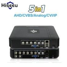 CVBS 5 em 1 CCTV Mini DVR CVI TVI AHD Câmera IP Gravador de Vídeo Digital 4CH 8CH AHD DVR NVR sistema de CFTV Segurança P2P Hiseeu