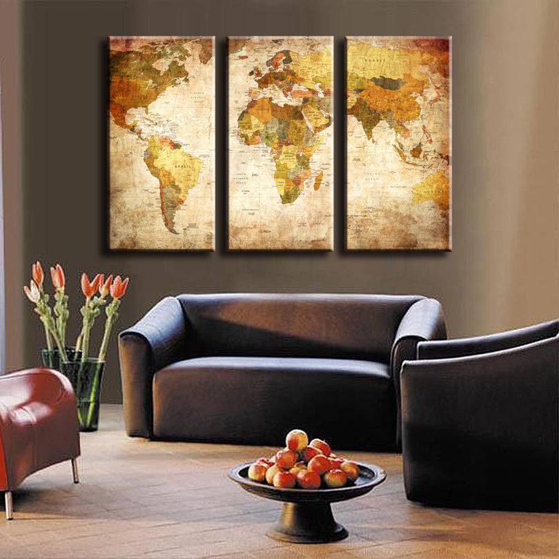 3 Pcs/Set Classic World Maps Wall Art for Living Room Retro Yellow Maps  Painting - Compare Prices On Wall Art Sets- Online Shopping/Buy Low Price