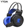 YTOM PC80 Gaming Headset свет PC Gamer Глубокий Бас наушники С МИКРОФОНОМ USB + 3.5 мм Кабель для ПК компьютеров PK G2000 гарнитура