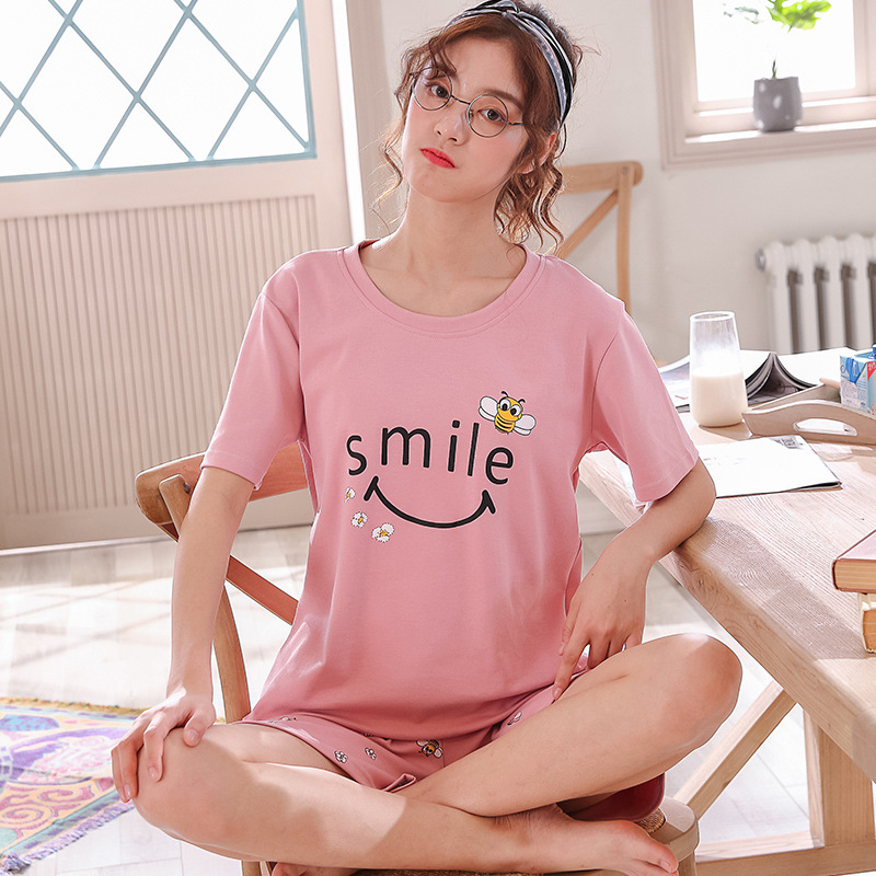 High Quality Girl Sleepwear Pijama Women Cotton   Pajamas     Set   Women Pyjamas Short Sleeved Suit Female Clothing   Set   2019