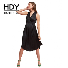 HDY HaoDuoYi Women's Dresses Sexy V Neck Sleeveless Party Dress Black Ruched Corset Waist Midi Dresses Elegant Ladies Clubwear black cut out v neck sleeveless drawstring waist dresses