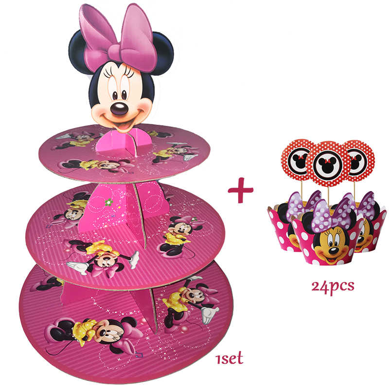 3-tier Cupcake Stand Cupcake Wrappers Minnie Mouse Birthday Party Supplies Kids Baby Shower Favors Cupcake Decoration Set