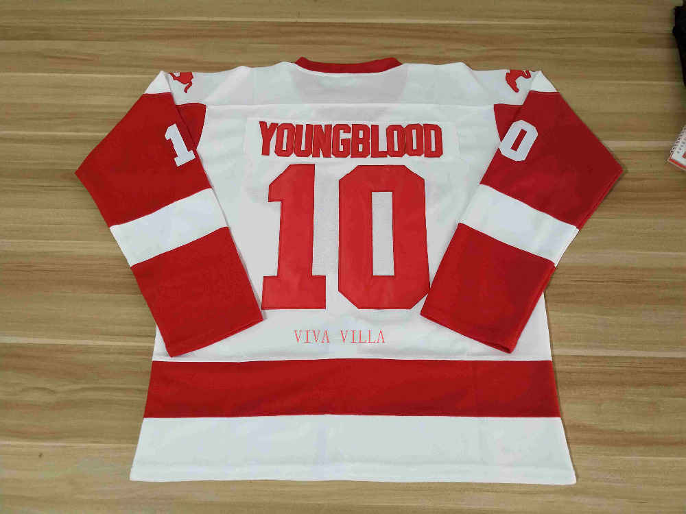 Youngblood 10 Mustangs Rob Lowe Ice Hockey Jersey All Stitched Movie Jersey  White USA Size 14621e4b91