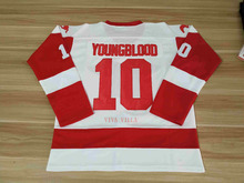 d05d59a37ec Youngblood 10 Mustangs Rob Lowe Ice Hockey Jersey All Stitched Movie Jersey  White USA Size(